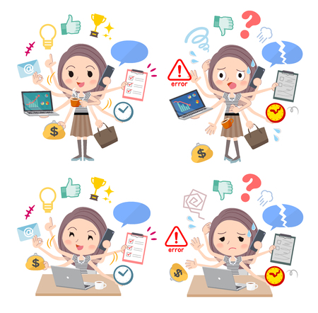 A set of women who perform multitasking in the office. There are things to do smoothly and a pattern that is in a panic. Its vector art so its easy to edit.