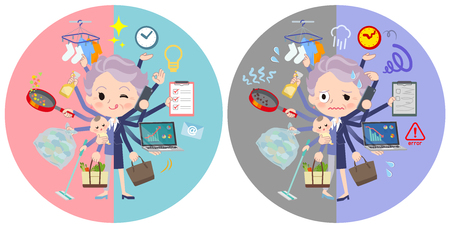 A set of senior women who perform multitasking in offices and private.There are things to do smoothly and a pattern that is in a panic.It's vector art so it's easy to edit. Çizim