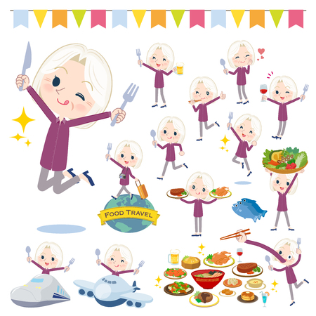 A set of senior women on food events.