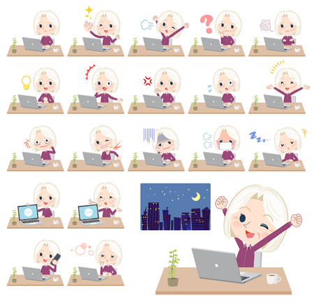 A set of senior women on desk work.There are various actions such as feelings and fatigue.It's vector art so it's easy to edit. Stock Vector - 103124006