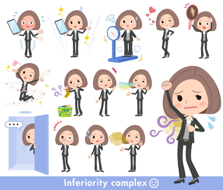 A set of women on inferiority complex.There are actions suffering from smell and appearance.It's vector art so it's easy to edit. Vektorové ilustrace