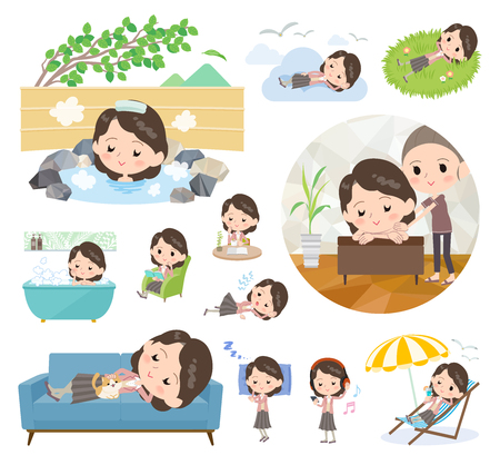A set of women about relaxing.There are actions such as vacation and stress relief.It's vector art so it's easy to edit.