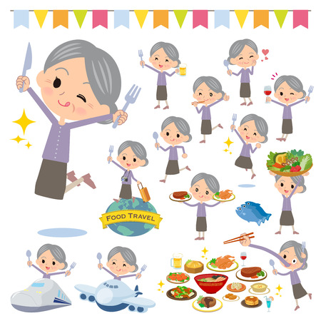 A set of senior women on food events.There are actions that have a fork and a spoon and are having fun.It's vector art so it's easy to edit. Vecteurs