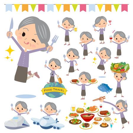 Una serie di donne anziane in eventi gastronomici. Ci sono azioni che hanno forchetta e cucchiaio e si divertono. È arte vettoriale quindi è facile da modificare. Vettoriali