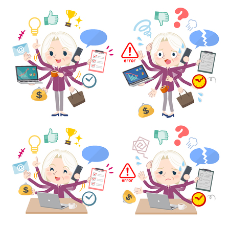 A set of senior women who perform multitasking in the office.