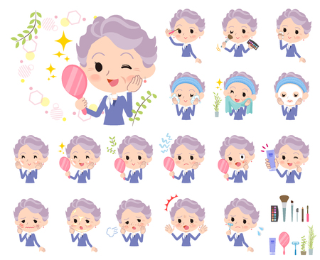 A set of senior women on beauty.There are various actions such as skin care and makeup.It's vector art so it's easy to edit.