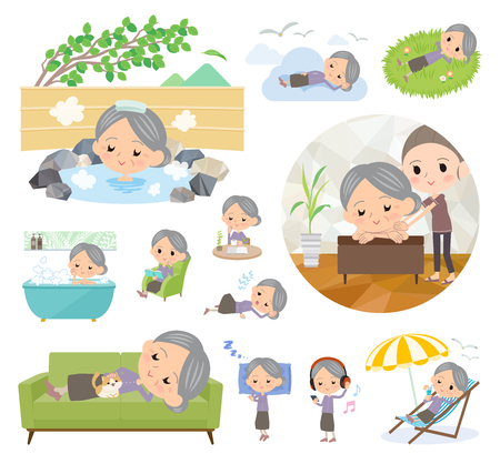 A set of senior women about relaxing.There are actions such as vacation and stress relief.It's vector art so it's easy to edit. Ilustrace