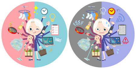 A set of senior women who perform multitasking in offices and private.There are things to do smoothly and a pattern that is in a panic.It's vector art so it's easy to edit. Illustration