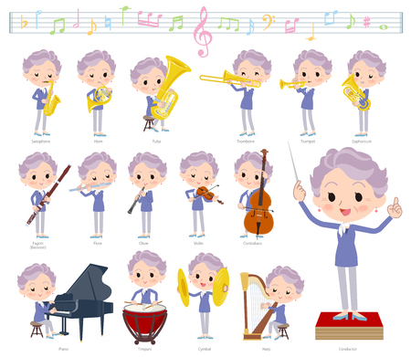 A set of senior women on classical music performances. There are actions to play various instruments such as string instruments and wind instruments. Its vector art so its easy to edit.  イラスト・ベクター素材