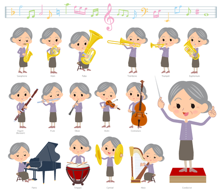 A set of senior women on classical music performances.There are actions to play various instruments such as string instruments and wind instruments.It's vector art so it's easy to edit.
