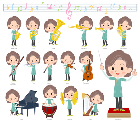 A set of women on classical music performances.There are actions to play various instruments such as string instruments and wind instruments.It's vector art so it's easy to edit. Archivio Fotografico - 103124253