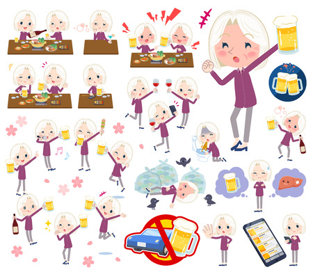 A set of senior women related to alcohol.
