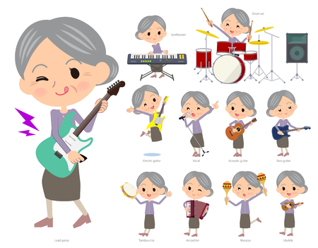 A set of senior women playing rock 'n' roll and pop music.There are also various instruments such as ukulele and tambourine.It's vector art so it's easy to edit.