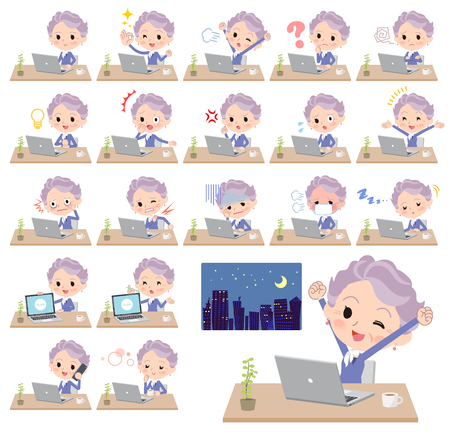 A set of senior women on desk work. There are various actions such as feelings and fatigue. Its vector art so its easy to edit.