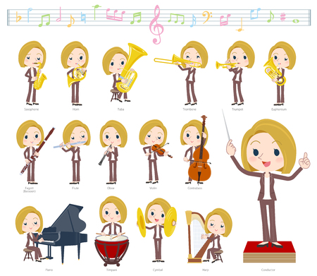 A set of women on classical music performances. There are actions to play various instruments such as string instruments and wind instruments. Its vector art so its easy to edit.