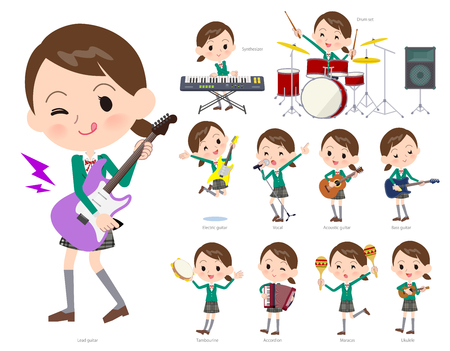 A set of School girl playing rock 'n' roll and pop music.There are also various instruments such as ukulele and tambourine.It's vector art so it's easy to edit. Illustration