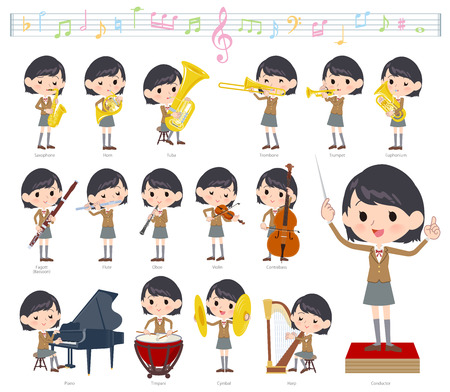 A set of School girl on classical music performances.