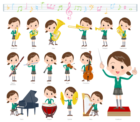A set of School girl on classical music performances. There are actions to play various instruments such as string instruments and wind instruments. Its vector art so its easy to edit.