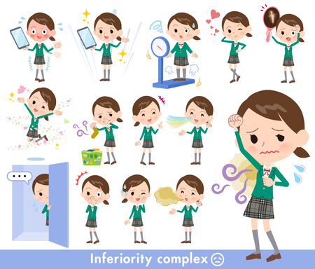 A set of School girl on inferiority complex. There are actions suffering from smell and appearance. Its vector art so its easy to edit.