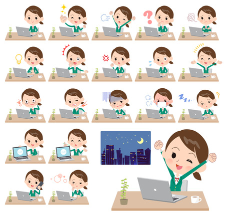 A set of School girl on desk work. There are various actions such as feelings and fatigue. Its vector art so its easy to edit.