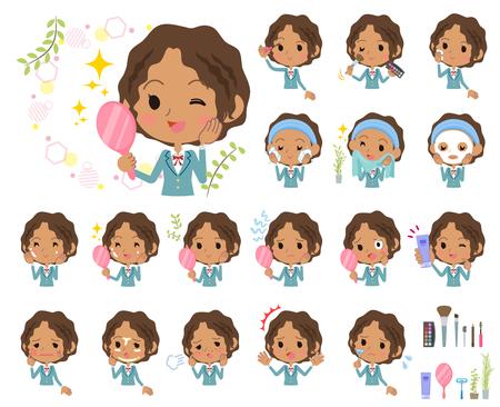 Een reeks van Schoolmeisje op schoonheid. Er zijn verschillende acties zoals huidverzorging en make-up. Het is vectorkunst, dus het is gemakkelijk te bewerken.