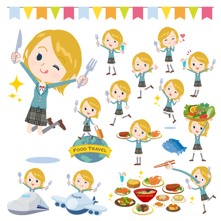 A set of School girl on food events. There are actions that have a fork and a spoon and are having fun. Its vector art so its easy to edit. Illustration