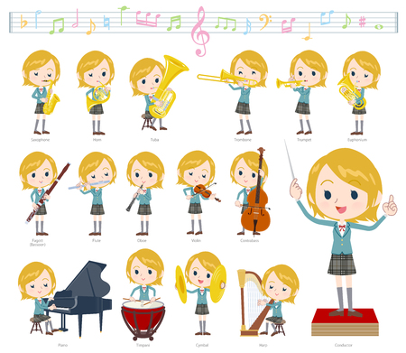 A set of School girl on classical music performances.There are actions to play various instruments such as string instruments and wind instruments.It's vector art so it's easy to edit.