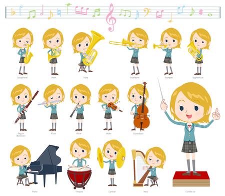 Un ensemble d'écolière sur des performances de musique classique. Il existe des actions pour jouer de divers instruments tels que des instruments à cordes et des instruments à vent. C'est de l'art vectoriel, donc c'est facile à éditer.