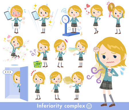 A set of School girl on inferiority complex.