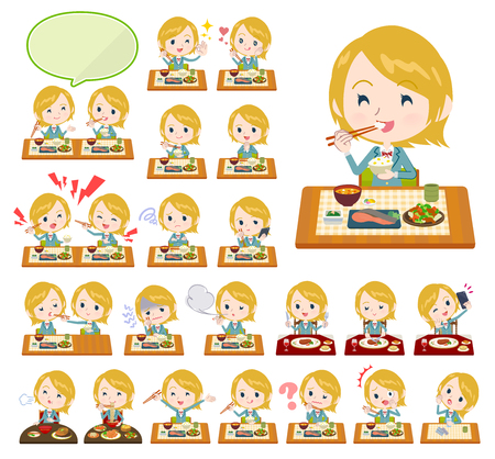 A set of School girl about meals. Japanese and Chinese cuisine, Western style dishes and so on. Its vector art so its easy to edit.