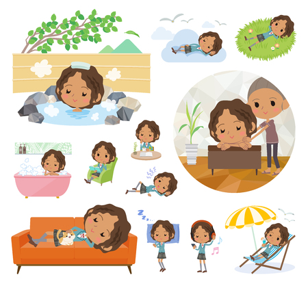 A set of School girl about relaxing. There are actions such as vacation and stress relief. Its vector art so its easy to edit.