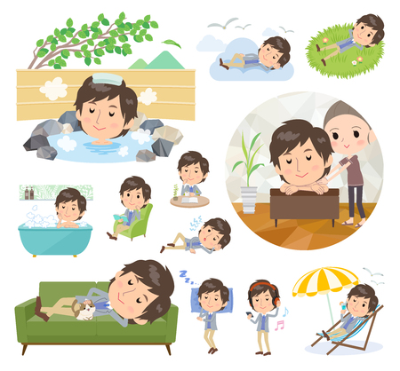 A set of men about relaxing.There are actions such as vacation and stress relief.It's vector art so it's easy to edit.