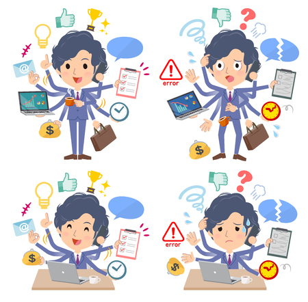 A set of businessman who perform multitasking in the office.There are things to do smoothly and a pattern that is in a panic.It's vector art so it's easy to edit.