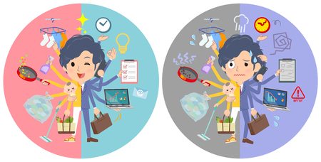 A set of businessman who perform multitasking in offices and private.There are things to do smoothly and a pattern that is in a panic.Its vector art so its easy to edit.