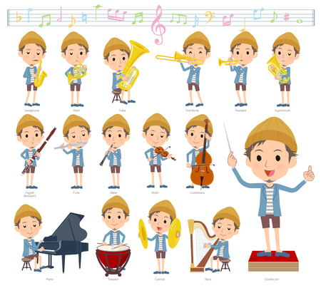 A set of men on classical music performances.There are actions to play various instruments such as string instruments and wind instruments.Its vector art so its easy to edit.