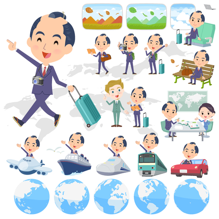 A set of businessman on travel.There are also vehicles such as boats and airplanes.Its vector art so its easy to edit.