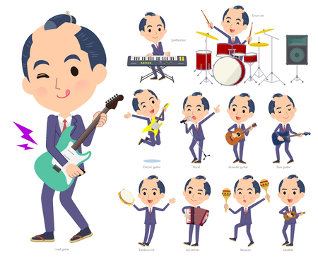 A set of businessman playing rock n roll and pop music.There are also various instruments such as ukulele and tambourine.Its vector art so its easy to edit. Illustration