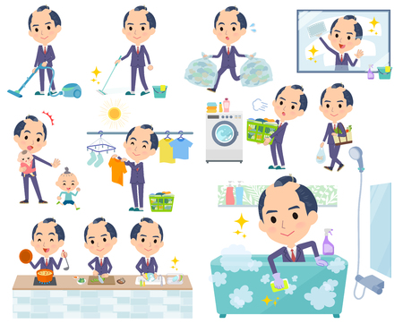 A set of businessman related to housekeeping such as cleaning and laundry.There are various actions such as cooking and child rearing.It's vector art so it's easy to edit.