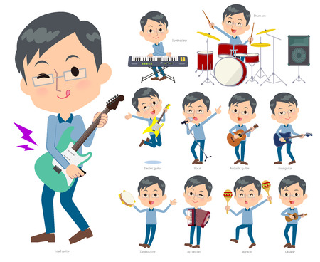 A set of men playing rock n roll and pop music.There are also various instruments such as ukulele and tambourine.Its vector art so its easy to edit.