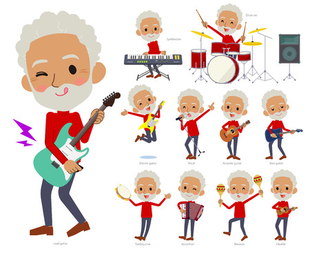 A set of old men playing rock 'n' roll and pop music.There are also various instruments such as ukulele and tambourine.It's vector art so it's easy to edit.