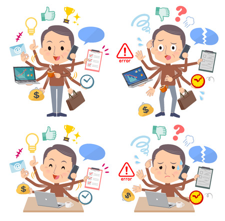 A set of middle men who perform multitasking in the office.There are things to do smoothly and a pattern that is in a panic.It's vector art so it's easy to edit.