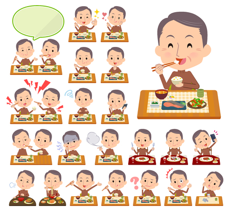 A set of middle men about meals.Japanese and Chinese cuisine, Western style dishes and so on.Its vector art so its easy to edit.  イラスト・ベクター素材