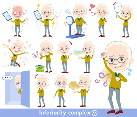 A set of old men on inferiority complex.There are actions suffering from smell and appearance.It's vector art so it's easy to edit. Illustration