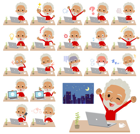 A set of old men on desk work.There are various actions such as feelings and fatigue.Its vector art so its easy to edit.