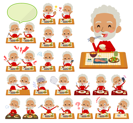 A set of old men about meals.Japanese and Chinese cuisine, Western style dishes and so on.Its vector art so its easy to edit.