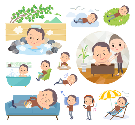 A set of middle men about relaxing.There are actions such as vacation and stress relief.It's vector art so it's easy to edit.