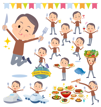 A set of middle men on food events.There are actions that have a fork and a spoon and are having fun.It's vector art so it's easy to edit. Çizim
