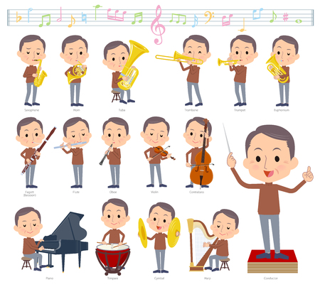 A set of middle men on classical music performances.There are actions to play various instruments such as string instruments and wind instruments.It's vector art so it's easy to edit.