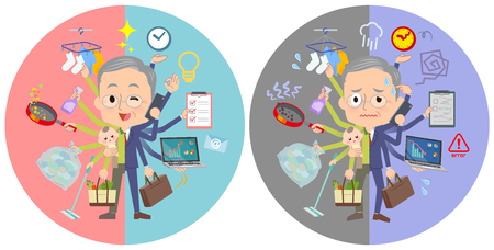 A set of old men who perform multitasking in offices and private.There are things to do smoothly and a pattern that is in a panic.It's vector art so it's easy to edit.