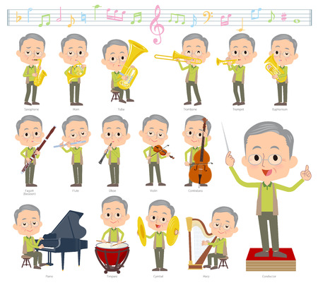 A set of old men on classical music performances.There are actions to play various instruments such as string instruments and wind instruments.Its vector art so its easy to edit.